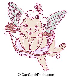 Angel or cupid in hand drawn style.