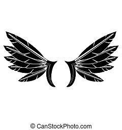 Angel or Phoenix Wings. Winged Logo Design. Part of Eagle Bird. Design Elements for Emblem, Sign, Brand Mark.