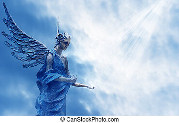 Angel over blue sky with rays of sun light