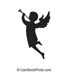 angel playing a trumpet. side view silhouette. vector...