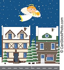Angel Playing Trumpet, Buildings and Trees Vector