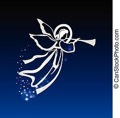 Angel plying a trumpet in a night sky