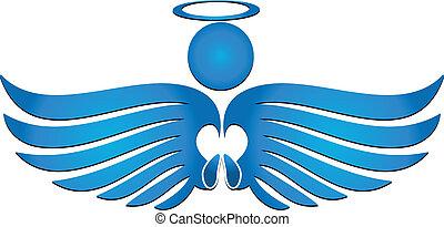 Angel pray - Blue angel praying logo vector