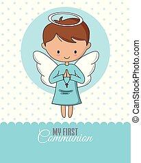 Angel praying. Communion or baptism card