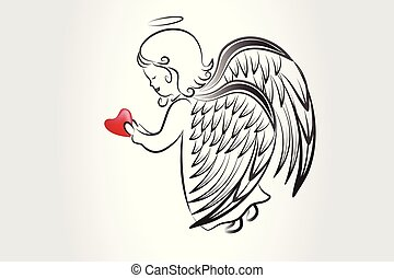 Angel praying with a love heart sketch logo icon vector image artwork