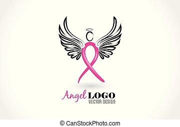 Angel ribbon cancer symbol