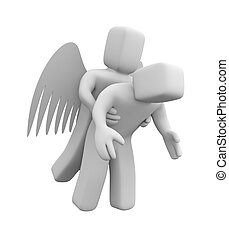 Angel saves man - Teamwork concept. Isolated on white