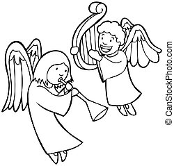 Angel Set - cartoon angel characters on white.