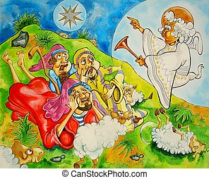 Angel & Shepherds - cartoon shimmering ink illustration