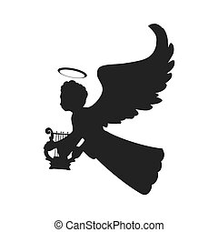 angel silhouette fairy wing heaven icon. Vector graphic
