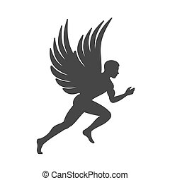 Angel Silhouette. Man with Wings Sign. Vector