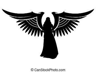 angel silhouette of an angel with wings on a white background