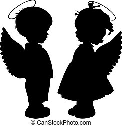 Angel silhouettes set - Two black angel silhouettes isolated...