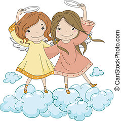 Angel Sisters Holding Their Halo - Illustration of Angel...