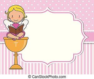 Angel sitting on a chalice