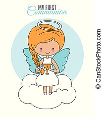Angel sitting on a cloud with a chalice in his hands