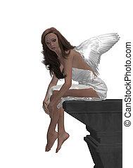 Angel Sitting On A Ledge