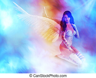 Angel Sitting On Clouds