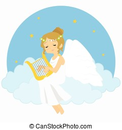 Angel Sitting on Clouds Playing Harp Vector Illustration