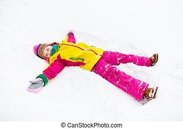 angel., spielen, kinder, winter, schnee, park., kind, machen