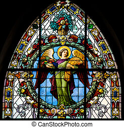 Angel, stained glass window in Stockholm church created in...