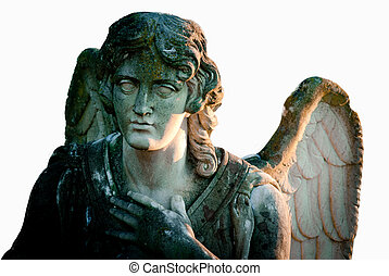 angel statue isolated on white