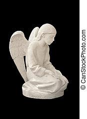 angel., tło, odizolowany, czarnoskóry, statua, dziecko