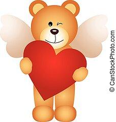Angel teddy bear holding a heart