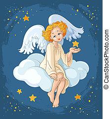 angel., tema, cristão, natal