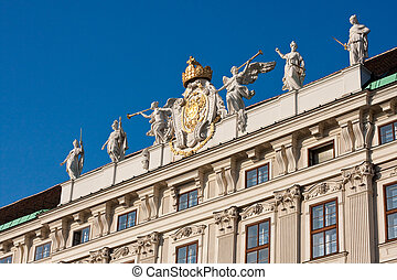 Angel trumpeters at the Imperial Palace in Vienna - Facade...