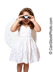 Angel using binoculars