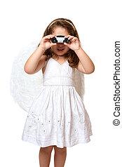 Angel using binoculars