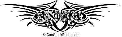 angel - Abstract vector illustration black and white tribal...