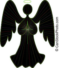 Angel vector line drawing in green, with colored light rays, and cross of white light.