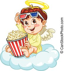 Angel watching movie - Little baby angle watching movie,...