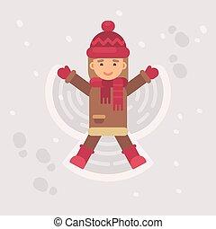 angel., weinig; niet zo(veel), winter, plat, sneeuw, illustratie, vervaardiging, meisje, geitje