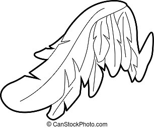 Angel wing icon, outline style