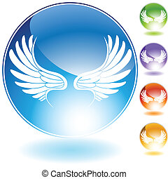 angel wing set crystal - wing crystal image on a web icon.
