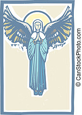 Woodcut style image of the Virgin Mary with angel wings.