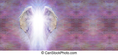 Angel Wings and Light Banner - Angel wings with a shaft of...