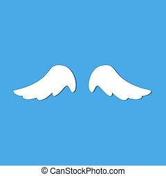 angel wings blue background