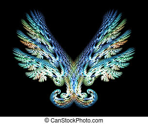Angel Wings Emblem over Black - Blue Green Angel wings...