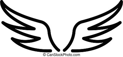 Angel wings icon, outline style