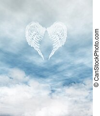 Angel Wings in Cloudy Blue Sky - White feathered angel wings...