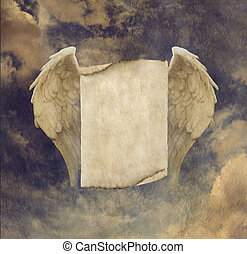 Angel Wings Message Board - Antique Effect Parchment Angel...