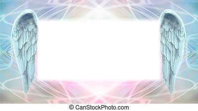 Wide wispy ethereal energy background with a large misty white central message board area flanked by a pair of Angel wings