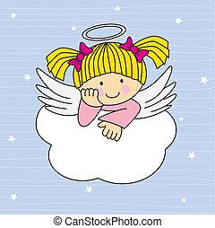 Angel wings on a cloud. Greeting card