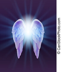 A pair of finely feathered Angel Wings with a bright white light bursting between, radiating outwards subtle blue on a dark purple and black background
