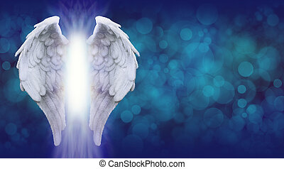 Wide blue bokeh background with a large pair of Angel Wings on the left side and a shaft of bright light between