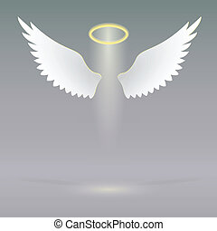 Angel wings on heavenly - Angel wings and golden halo,...